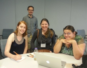 These are four of the ComSciCon participants in the process of launching GeoSciBites