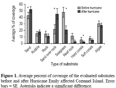 Average Percent Coverage of evaluated locations after Hurricane Emily impacted Cozumel, Mexico
